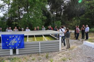 Vue des bassins lors de la visite inaugurale du démonstrateur Phytobarre de Lurs